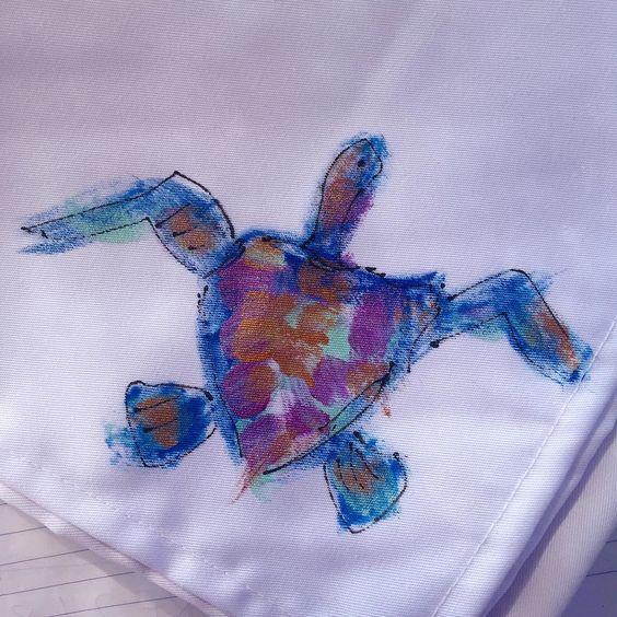 Little turtle napkins. #aegeandesigns #santorini #artgallery #localbrand by aegeandesigns