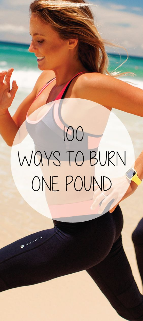 100 ways to burn one pound of fat with how much you need to do each exercise. It might be easier than you think! #fitness #exercise #weightloss