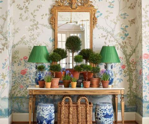 Peel Stick Grasscloth Wallpaper My Wayfair Video Emily A Clark White Garden Stools Blue And White Lamp Decor