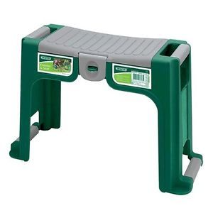 Garden or shop stools green padded cushion garden kneeler seat stool or chair with for Gardening tools for the elderly