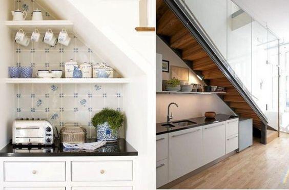 Ideen Stauraum unteru der Treppe küche geschirr regale