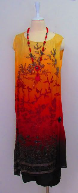 Ombre shaded 1920s dress with Chinoiserie motif beading