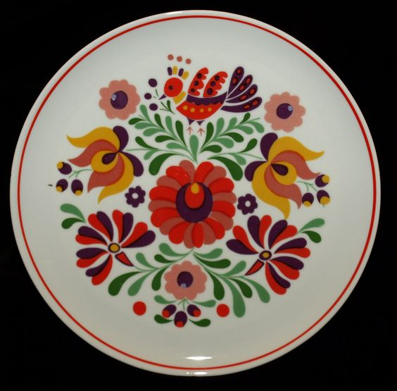 Hand Painted Hungarian Kalocsa Floral Hollohaza by TheMightyCat