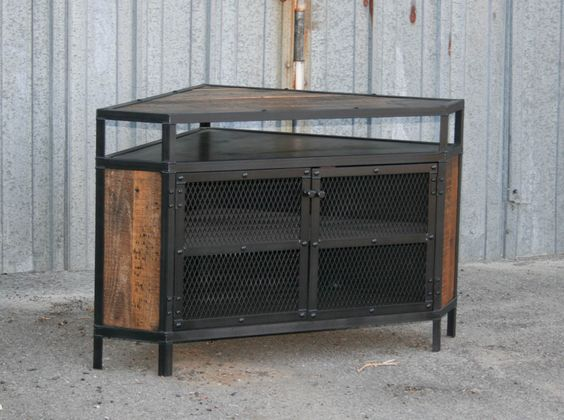 Modern Industrial Corner Unit Tv Stand Wood Industrial Tv Stand