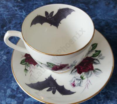 Bat Rose Tea Cup and Saucer