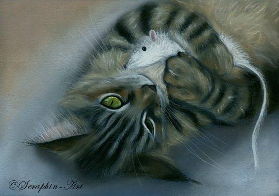 2007-36 Maine Coon Tabby Katze Pastell Zeichnung