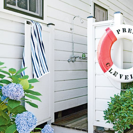 There's nothing quite like an #outdoorshower ! Classic Outdoor Shower - Fresh-Air Outdoor Bath Showers for Beach Houses - Coastal Living:
