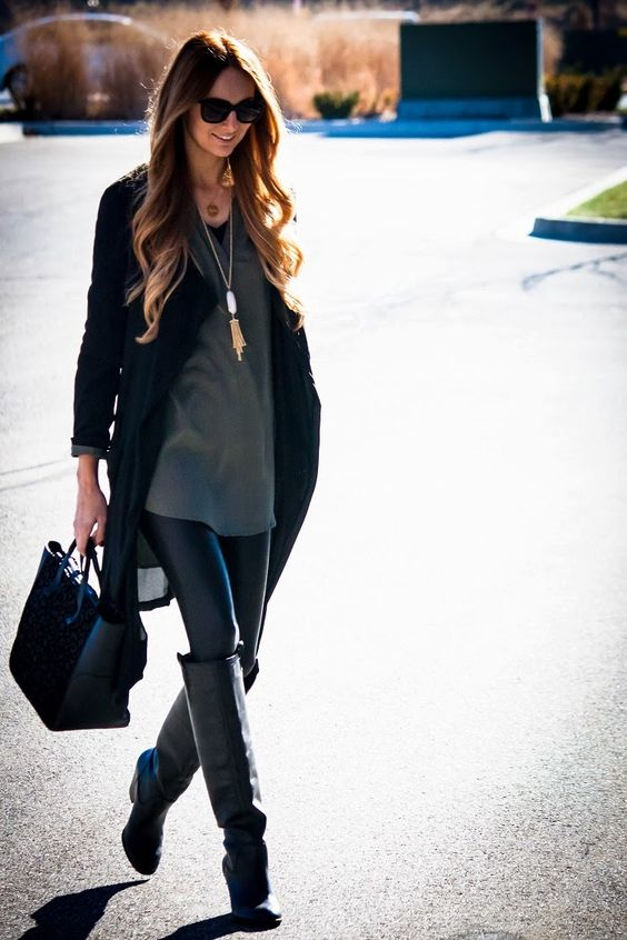 Hunter green + leather leggings | Passion for Fashion | Pinterest | Grey Style and Love this