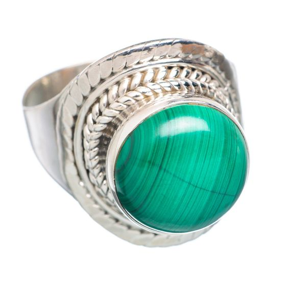 Malachite 925 Sterling Silver Ring Size 7.5 RING715098