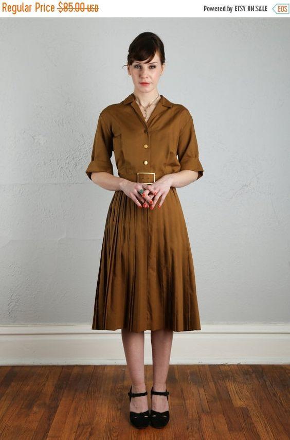 ON SALE Vintage Shirtwaist Dress . Rich Brown by VeraVague on Etsy
