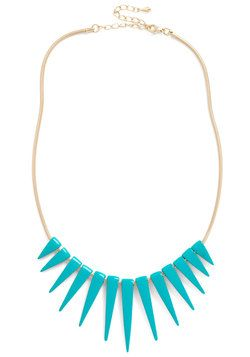 Spike an Interest Necklace in Teal, #ModCloth
