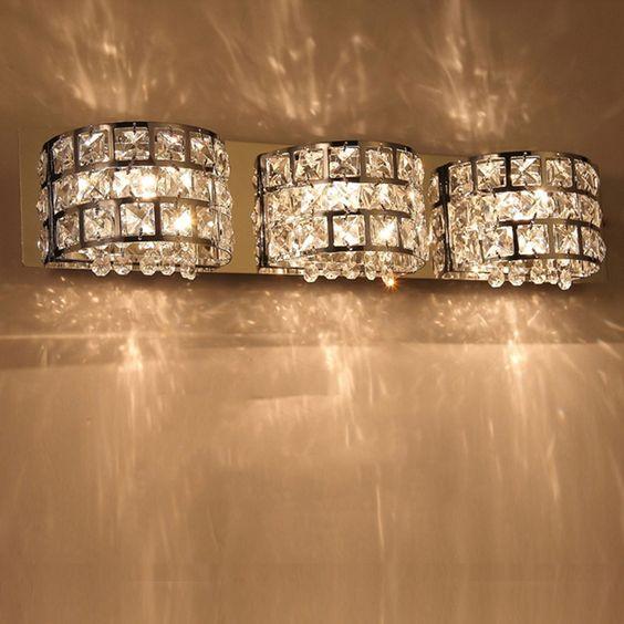 PetrelKing Modern Crystal Bathroom Mirror Vanity Light Lamp Bath Wall Fixture Ceiling Light (3 Heads) - - Amazon.com