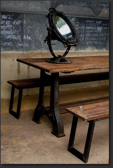 Cast iron table and benches rustic wood industrial metal for Rustic iron table legs