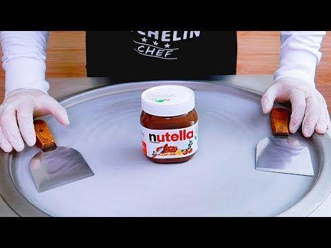 Nutella Ice Cream Rolls Street Food فقط لمحبي النوتيلا ايسكريم على الصاج بنوتيلا Youtube Nutella Nutella Bottle Chef