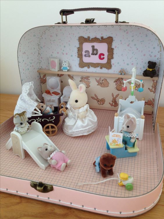 Sylvanian Family Handmade Nursery. Rabbit family in a suitcase. Made as a gift for my niece.