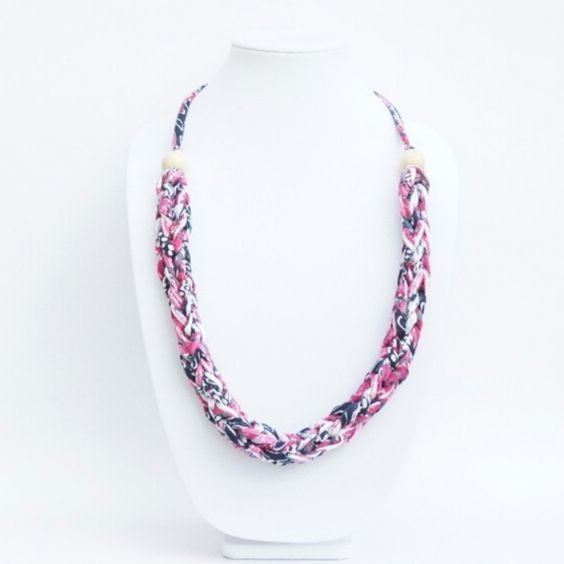 Handmade colorful statement jewelry created with brand new T-Shirt Yarn. Lightweight, easy to style and care, every piece will sure be a show stopper.  For Wholesale inquires or any other business needs email info@fanatiqueof.com