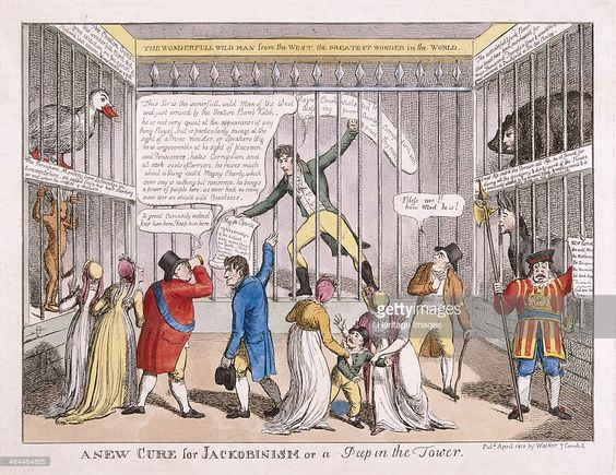 Sir Francis Burdett's imprisonment in the Tower of London, 1810. Interior view of the Tower of London, with Sir Francis Burdett behind bars clutching a copy of the Magna Carta. On the left are King George III, Queen Charlotte and one of the Princesses. Spencer Perceval is represented as an ass, Sir John Pitt Chatham is a goose and Charles Philip Yorke is a bear.