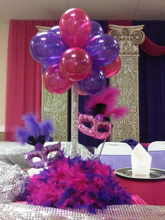 Quinceaneras centerpieces balloon centerpiece with masks for Balloon decoration ideas for quinceaneras