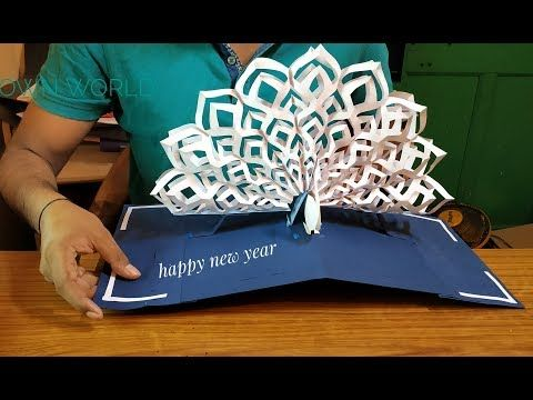 New Year Greeting Card New Year Peacock Pop Up Card How To Make Pop Up Card Diy Tutorial Yo Creative Cards Diy New Year Greeting Cards Greeting Cards Diy