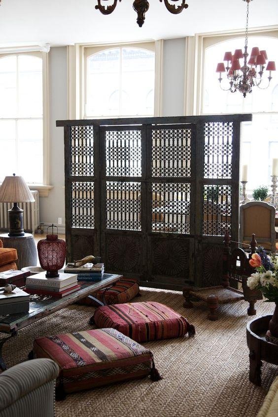 Floor seating wooden shutter room divider moroccan black modern bohemian boho interior for Floor seating living room design