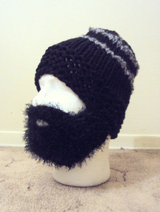 BEARD HAT BEANIE Mens Knit Beanie Face Mask Winter Hat Snowboard Hat #Handmade #Beanie