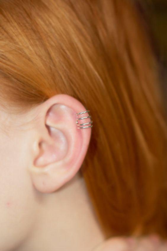 silver EAR CUFF fake helix piercing perfect by CharmingWondersCW