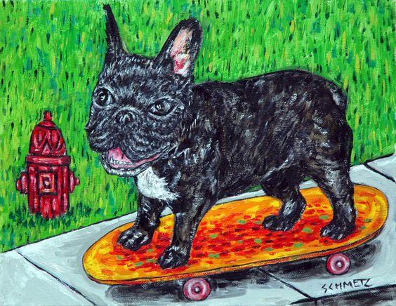 FrenCH BULLDOG dog art PRINT poster gift modern folk JSCHMETZ 8x10 skateboarding #Impressionism
