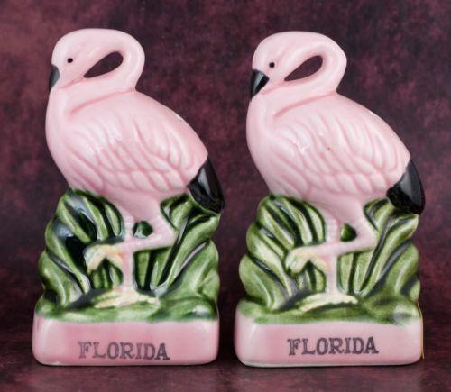 Vintage Ceramic Florida Souvenir Flamingo Salt Pepper Shakers