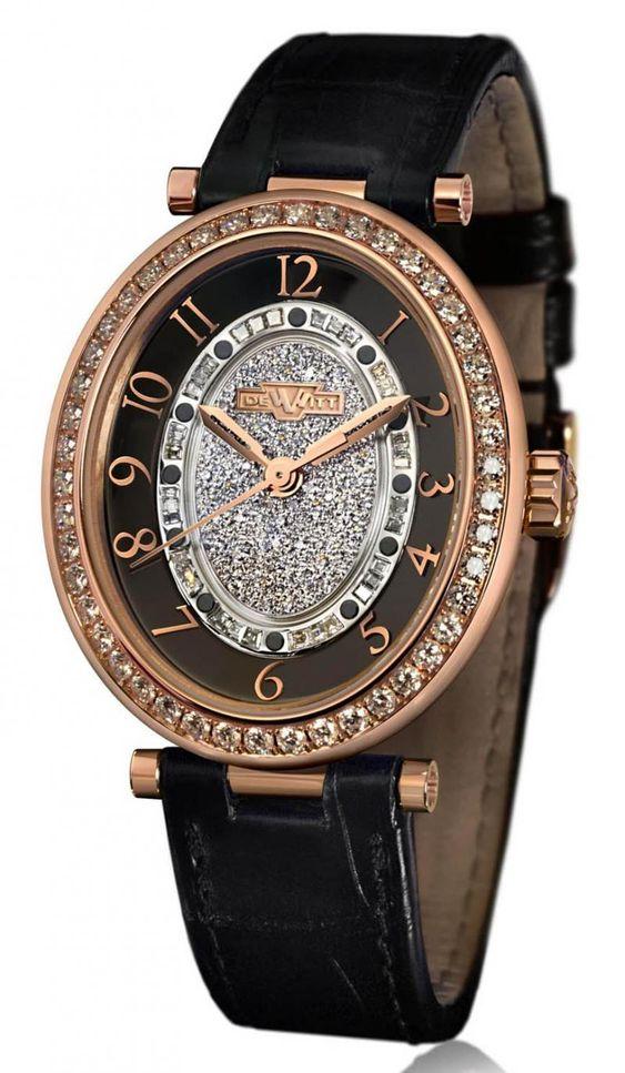 DeWitt AL.003 Alma Automatic - швейцарские женские часы наручные, золотые с бриллиантами, черные