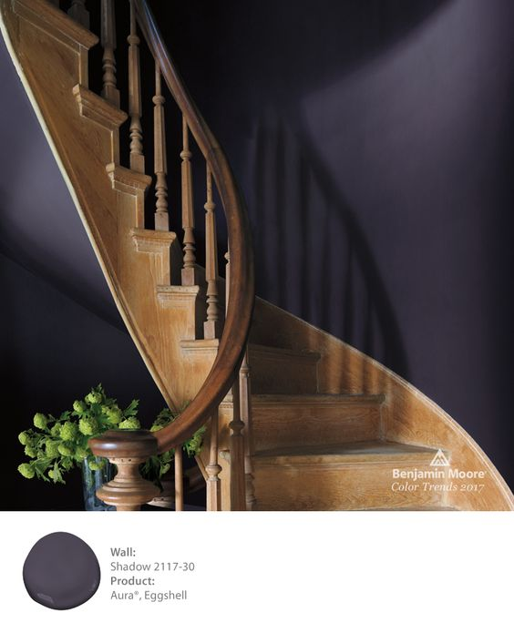 Rich, mysterious, and a master of ambiance, the Benjamin Moore Color of the Year 2017 is Shadow 2117-30. Explore Shadow and the Full Color Trends 2017 palette of 23 colors by following the pin.