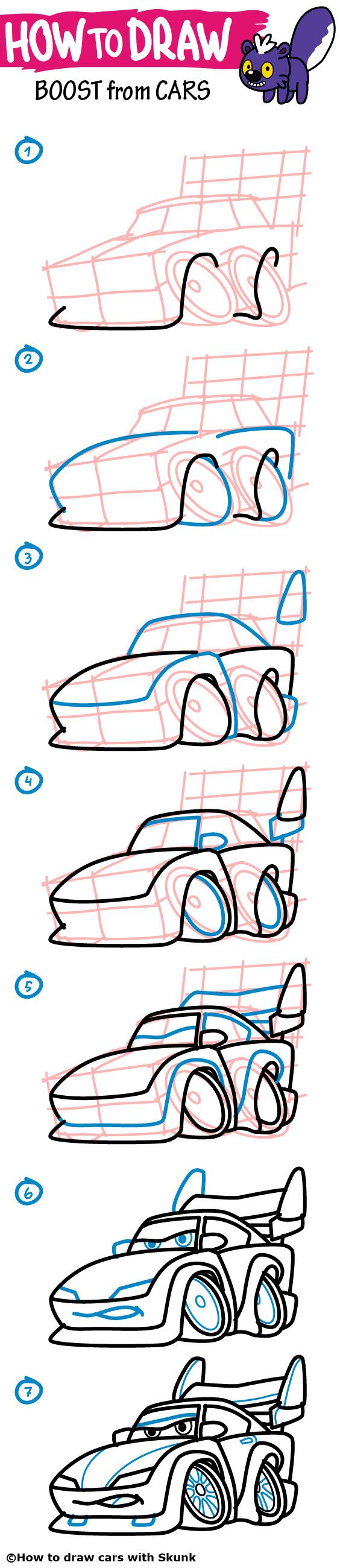 how to draw cars step by step boost from disney pixars cars easy how to draw a car step by step for kids toddlers and parents