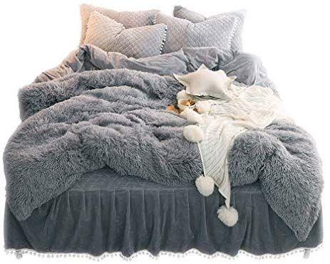 Amazon Com Liferevo Luxury Plush Shaggy Duvet Cover Set 1 Faux Fur Duvet Cover 2 Pompoms Fringe Pillow S Bedding Sets Grey Bed Linens Luxury Fluffy Bedding