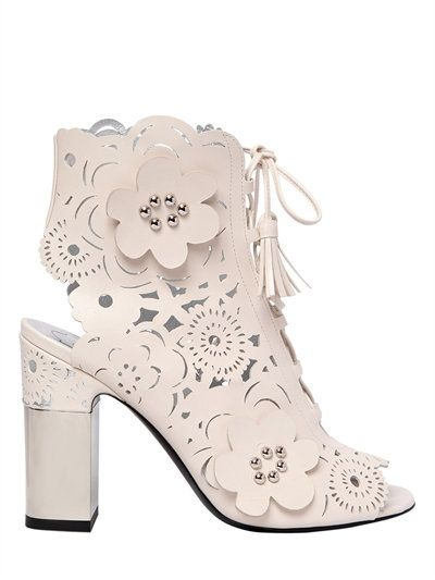 3/9/17 ROGER VIVIER - 95MM PODIUM LASER-CUT LEATHER BOOTS - OFF WHITE