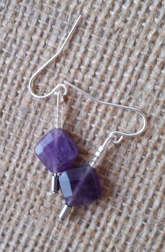 Faceted Purple Amethyst Semi Precious Gemstone Dangle Earrings