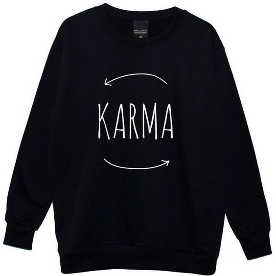 Karma Boyfriend Oversized Sweater Jumper Womens Ladies Fun Tumblr... ($28) ❤ liked on Polyvore featuring tops, hoodies, sweatshirts, sweaters, shirts, black, women's clothing, black top, black star shirt and boyfriend shirt: