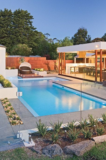 Aloha Pools Pty Ltd Designed This Formal Pool In Frankston Aloha Pools Pty Ltd Custom Pool And Spa In 2020 Indoor Pool Design Backyard Pool Designs Modern Pool House