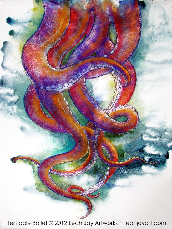 Octopus tentacles dancing colorful watercolor print by for Colorful octopus painting