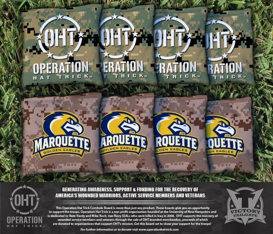 Marquette Golden Eagles Operation Hat Trick Team Logo Cornhole Bag Set