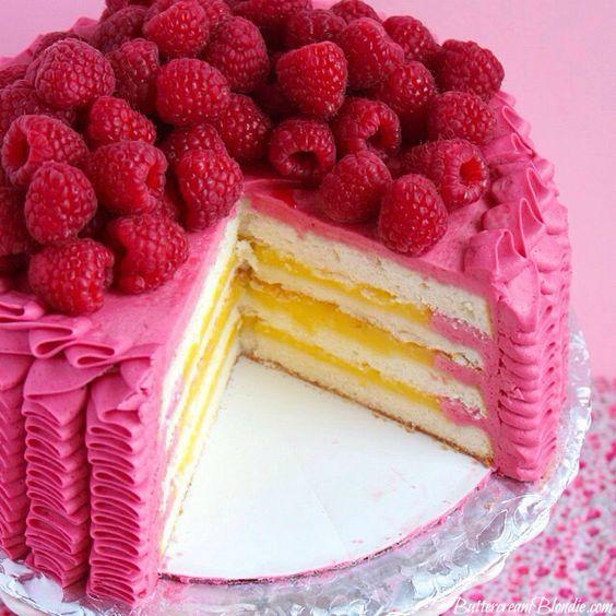 Raspberry Lemon Ruffle Cake - light layers of #cake filled with bright ...
