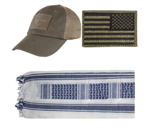 Mesh Brown Cap + USA Patch OD Green Right + White/Navy Shemagh
