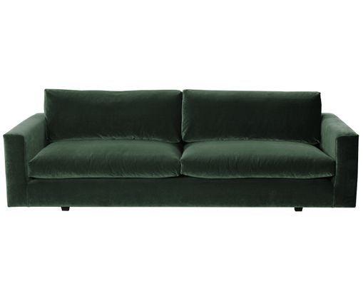 Sofa Z Aksamitu Balmira 3 Osobowa Tapicerka Zielony Nogi