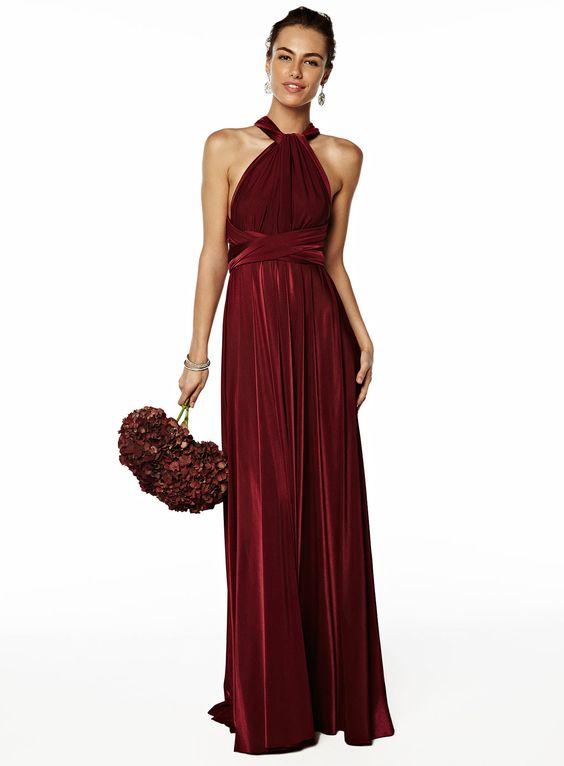 Merlot Long Twist & Wrap Dress