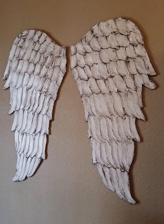 Wood Angel Wings Wall Art Carved Look Angel par LucyDesignsonline