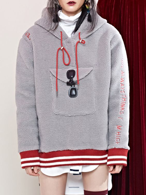 YOUPPIE! Light Gray Buttoned Letter Statement Hoodies And - statement letter