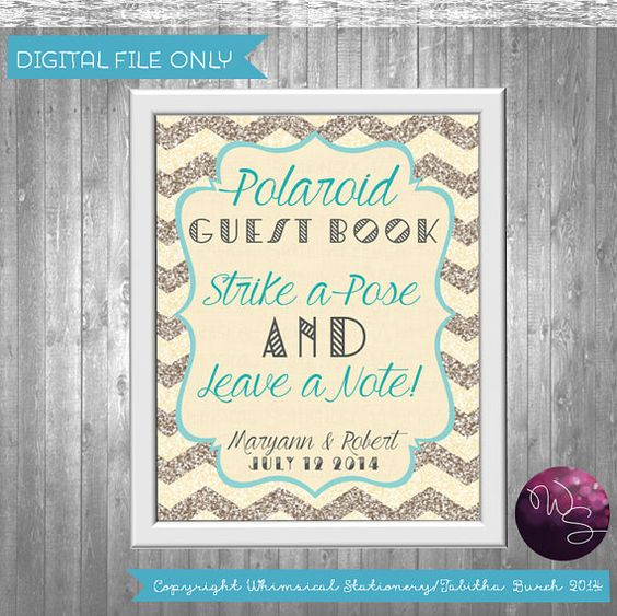 Polaroid Guest Book Ideas: Polaroid Guest Books, Guest Books And Glitter Chevron On