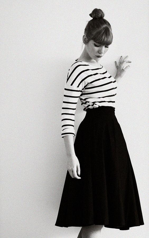 Black & white striped shirt and solid black full midi skirt