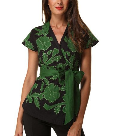 Look what I found on #zulily! Green & Black Floral Tie-Sash Benito Cruz Top…