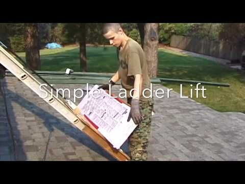 Simple Diy Ladder Lift Asphalt Shingles On The Roof Youtube Diy Ladder Shingling Outdoor Stairs