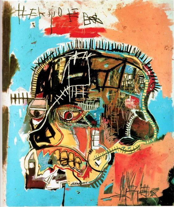 JM. Basquiat (1960 - 1988) Il appartient à la génération des graffiteurs qui a brusquement émergé à New York à la fin des années 70. En 1977, il commence à signer ses graffitis sous SAMO accompagné d'une couronne et du sigle du copyright. Au cours de sa fulgurante carrière, sa peinture passe de la rue au tableau. Son univers mélange les mythologies sacrées du vaudou et de la Bible ainsi que la bande dessinée, la publicité et les médias,les héros afro-américains, affirmation de sa négritude.