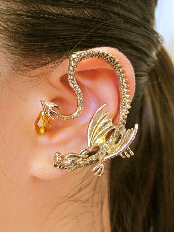 Game of Thrones Inspired Throne Dragon Ear Wrap with Briolette Drop Bronze Non Pierced Ear Wrap Ear Cuff